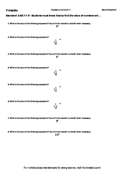 Worksheet for 6.EE.1-1.4 - Students must know how to find