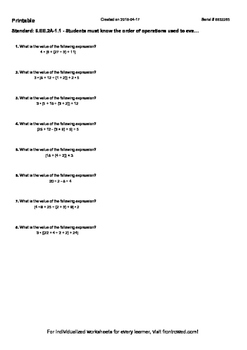 Worksheet for 6.EE.2A-1.1 - Students must know the order o