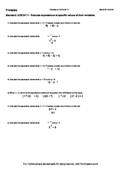 Worksheet for 6.EE.5-1.1 - Evaluate expressions at specifi
