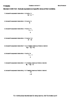 Worksheet for 6.EE.7-2.2 - Evaluate expressions at specifi