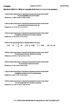 Worksheet for 6.EE.8-1.0 - Write an inequality of the form