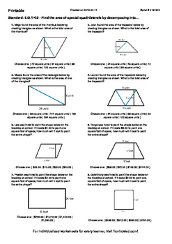 Worksheet for 6.G.1-4.0 - Find the area of special quadril