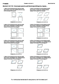 Worksheet for 6.G.1-4.2 - Decompose special quadrilaterals