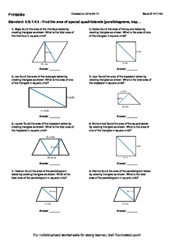 Worksheet for 6.G.1-4.3 - Find the area of special quadril
