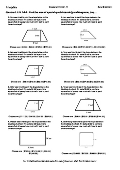 Worksheet for 6.G.1-4.4 - Find the area of special quadril