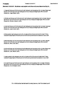 Worksheet for 6.G.2-2.4 - Students must explain and show v