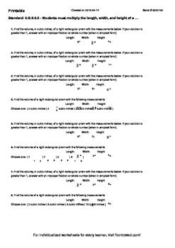 Worksheet for 6.G.2-3.2 - Students must multiply the lengt
