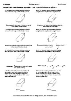 Worksheet for 6.G.2-3.5 - Apply the formula V = L x W x H