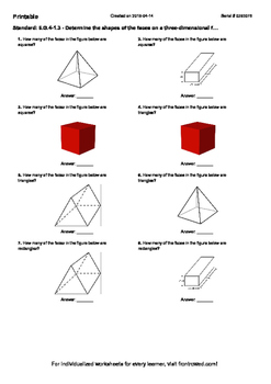 Worksheet for 6.G.4-1.3 - Determine the shapes of the face