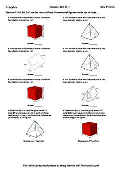 Worksheet for 6.G.4-2.0 - Use the nets of three dimensiona
