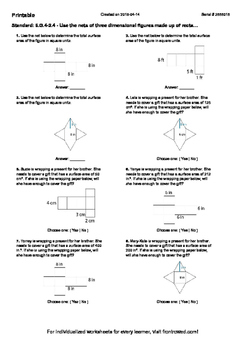 Worksheet for 6.G.4-2.4 - Use the nets of three dimensiona