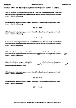 Worksheet for 6.NS.3-1.2 - Students must determine whether