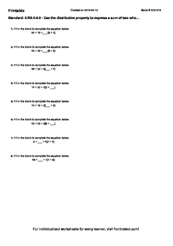 Worksheet for 6.NS.4-3.0 - Use the distributive property t