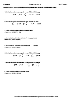 Worksheet for 6.NS.5-1.0 - Understand that positive and ne