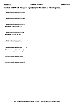 Worksheet for 6.NS.6A-2.1 - Recognize opposite signs of nu