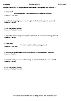 Worksheet for 6.NS.6B-1.1 - Students must identify the x-a