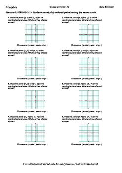 Worksheet for 6.NS.6B-2.1 - Students must plot ordered pai