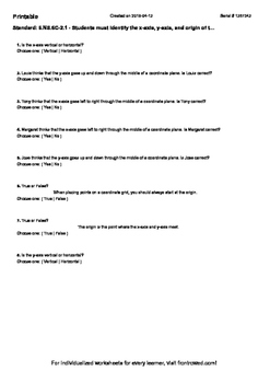 Worksheet for 6.NS.6C-2.1 - Students must identify the x-a