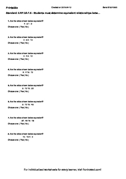 Worksheet for 6.RP.3A-1.6 - Students must determine equiva