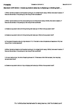 Worksheet for 6.RP.3A-2.3 - Create equivalent ratios by mu