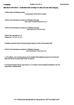 Worksheet for 6.RP.3A-4.1 - Understand the concept of a ra