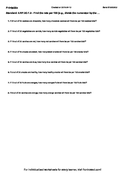 Worksheet for 6.RP.3C-1.3 - Find the rate per 100 (e.g., d