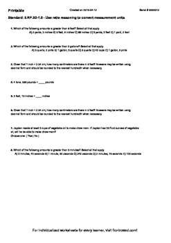 Worksheet for 6.RP.3D-1.0 - Use ratio reasoning to convert