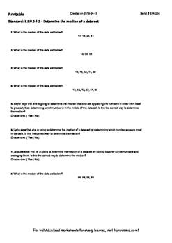 Worksheet for 6.SP.3-1.2 - Determine the median of a data set