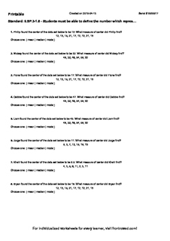 Worksheet for 6.SP.3-1.5 - Students must be able to define
