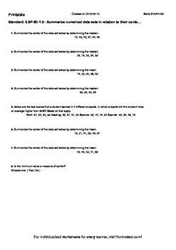 Worksheet for 6.SP.5C-1.0 - Summarize numerical data sets