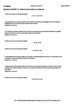Worksheet for 6.SP.5C-1.2 - Determine the median of a data set