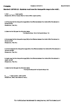 Worksheet for 6.SP.5C-2.2 - Students must know the interqu