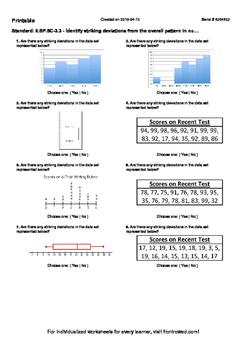 Worksheet for 6.SP.5C-3.3 - Identify striking deviations f