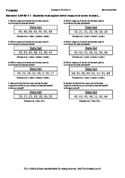 Worksheet for 6.SP.5D-1.1 - Students must explain which me