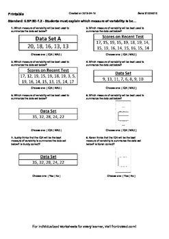 Worksheet for 6.SP.5D-1.2 - Students must explain which me