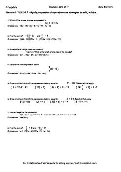 Worksheet for 7.EE.2-1.1 - Apply properties of operations