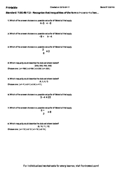 Worksheet for 7.EE.4B-1.2 - Recognize that inequalities of