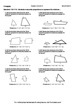Worksheet for 7.G.1-1.2 - Students must write proportions