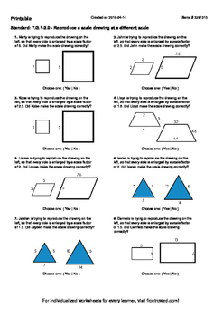 Worksheet for 7.G.1-2.0 - Reproduce a scale drawing at a d