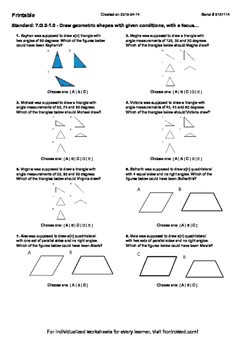 Worksheet for 7.G.2-1.0 - Draw geometric shapes with given