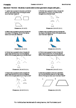 Worksheet for 7.G.2-2.2 - Students must be able to draw ge