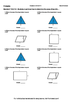 Worksheet for 7.G.3-1.2 - Students must know how to determ