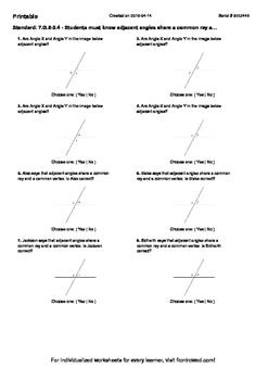 Worksheet for 7.G.5-2.4 - Students must know adjacent angl