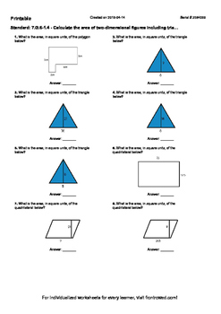 Worksheet for 7.G.6-1.4 - Calculate the area of two-dimens