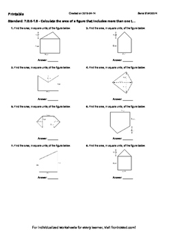 Worksheet for 7.G.6-1.5 - Calculate the area of a figure t