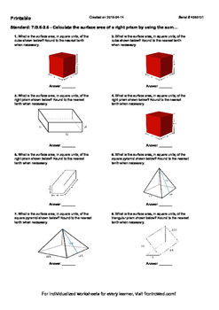 Worksheet for 7.G.6-2.6 - Calculate the surface area of a