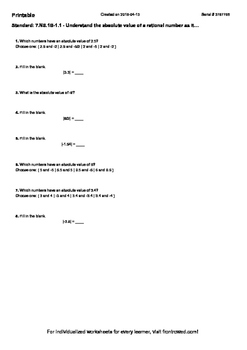 Worksheet for 7.NS.1B-1.1 - Understand the absolute value