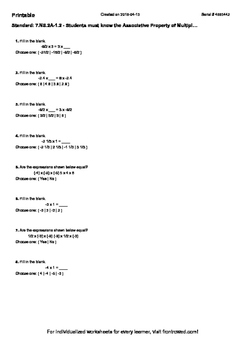 Worksheet for 7.NS.2A-1.2 - Students must know the Associa