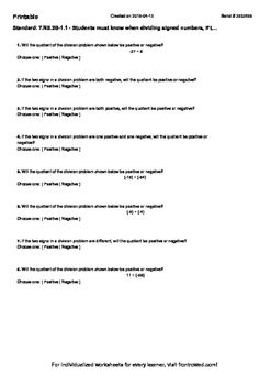 Worksheet for 7.NS.2B-1.1 - Students must know when dividi