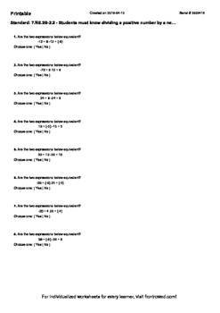 Worksheet for 7.NS.2B-2.2 - Students must know dividing a